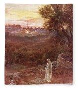 Jesus On The Mount Of Olives Fleece Blanket