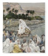 Jesus Preaching By The Seashore Fleece Blanket