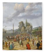 Jesus Preaching On The Shores Of The Sea Of Galilee Fleece Blanket
