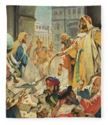 Jesus Removing The Money Lenders From The Temple Fleece Blanket