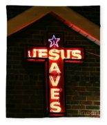 Jesus Saves In Neon Lights Fleece Blanket