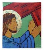 Jesus Takes Up His Cross Fleece Blanket
