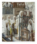 Jesus Unrolls The Book In The Synagogue Fleece Blanket