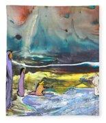 Jesus Walking On The Water Fleece Blanket
