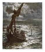 Jesus Walking Upon The Sea Fleece Blanket