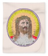 Jesus With The Crown Of Thorns Fleece Blanket
