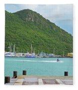 Jet Ski On The Lagoon Caribbean St Martin Fleece Blanket