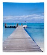Jetty On The Beach, Mauritius Fleece Blanket