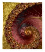 Jewel Gold  Fractal Spiral  Fleece Blanket