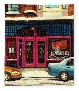 Jewish Montreal By Streetscene Artist Carole Spandau Fleece Blanket