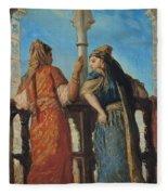 Jewish Women At The Balcony In Algiers Fleece Blanket