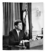 Jfk Addresses The Nation Painting Fleece Blanket