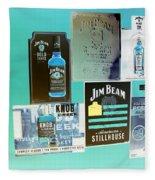 Jim Beam Signs On Display - Color Invert Fleece Blanket