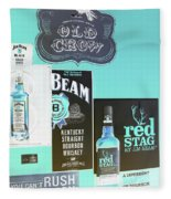 Jim Beam's Old Crow And Red Stag Signs - Color Invert Fleece Blanket