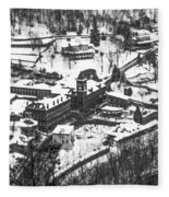 Jim Thorpe Pennsylvania In Winter In Black And White Fleece Blanket