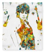 Joan Jett Colorful Paint Splatter Fleece Blanket