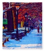 Jogging In The Snow Along Boathouse Row Fleece Blanket