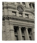 John Adams Courthouse Boston Ma Black And White Fleece Blanket