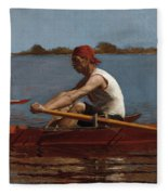 John Biglin In A Single Scull Fleece Blanket