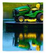 John Deere Mows The Water No 1 Fleece Blanket