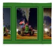 John Deere Tractor Pull Poster Fleece Blanket