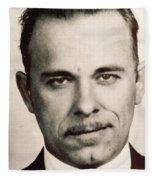 John Dillinger Mug Shot Sepia Fleece Blanket