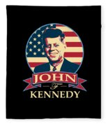 John F Kennedy American Banner Pop Art Fleece Blanket