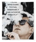 John F Kennedy Cigar And Sunglasses 3 And Quote Fleece Blanket