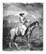 John Wayne At The Ready On Horseback Pa 01 Fleece Blanket