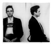 Johnny Cash Mug Shot Horizontal Fleece Blanket