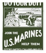 Join The Us Marines Fleece Blanket