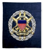 Joint Chiefs Of Staff - J C S Identification Badge On Blue Velvet Fleece Blanket