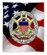 Joint Chiefs Of Staff - J C S Identification Badge Over U. S. Flag Fleece Blanket