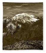 Joshua Tree At Keys View In Sepia Tone Fleece Blanket
