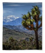 Joshua Tree In Joshua Park National Park With The Little San Bernardino Mountains In The Background Fleece Blanket