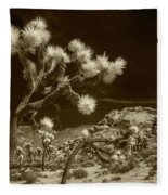 Joshua Trees And Boulders In Infrared Sepia Tone Fleece Blanket