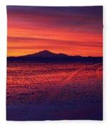 Journey Across The Salar De Uyuni At Sunset Fleece Blanket