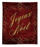 Joyeux Noel In Red And Gold Fleece Blanket
