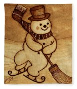 Joyful Snowman  Coffee Paintings Fleece Blanket