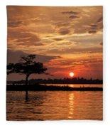 July Summer Sunset At Detroit Point Fleece Blanket