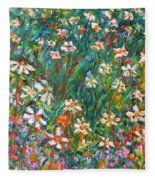 Jumbled Up Wildflowers Fleece Blanket