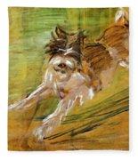 Jumping Dog Schlick 1908 Fleece Blanket