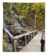 Juney Whank Falls And A Place To Rest Fleece Blanket