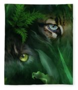Jungle Eyes - Panther And Ocelot  Fleece Blanket