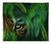 Jungle Eyes - Tiger And Panther Fleece Blanket