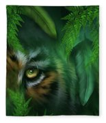 Jungle Eyes - Tiger And Panther Fleece Blanket