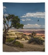 Juniper Tree On A Mesa Fleece Blanket