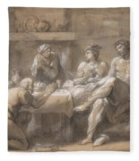 Jupiter And Mercury In The House Of Baucis And Philemon Fleece Blanket