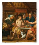 Jupiter And Mercury In The House Of Philemon And Baucis Fleece Blanket