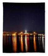 Jupiter Florida  Inlet Lighthouse At Night Fleece Blanket